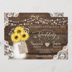 Barn Wedding Invitations, Sunflower Wedding Invitations, Rustic Invitations, Zazzle Invitations, Wedding Envelopes, Invites, Rustic Wedding, Lace Wedding, Dream Wedding