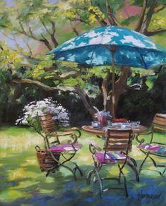 Gemälde - Ute Herrmann Kunstmalerin Ein Garten in Aix en Provence, Licht tanzt auf dem Sonnenschirm. Das ist ein Garten im Sommer.Ein Bild wie in einer Gemäldegalerie...