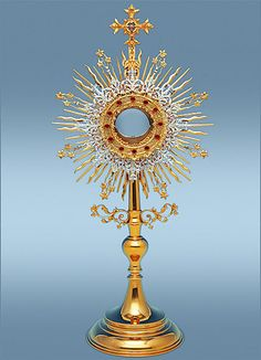 Roman Monstrance Gold and silver-plated and set with aquamarine blue stones