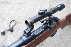 Deactivated Mauser Sniper Rifle - the infamous fitted with various scope configerations - Check this page for Deactivated Kar 98 Mauser Sniper Rifle! Military Weapons, Weapons Guns, Guns And Ammo, Anti Materiel Rifle, Airborne Ranger, K98, Closet Shoe Storage, Sniper Rifles, Weapon Concept Art