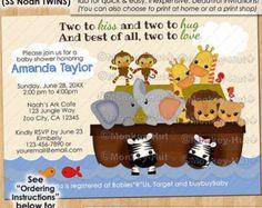 TWINS SS Noah's Ark Baby Shower Invitations / S.S. Noah boy boys animals elephant monkey zebra giraffe #0166 Personalized DIGITAL Invitation