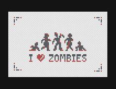 I Love Zombies cross stitch pattern. Free ($0).