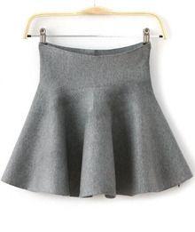 Grey High Waist Ruffle Flare Skirt US$14.17