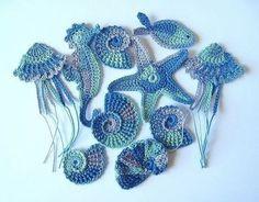 Crochet Sea Motifs Set of 10 Crochet Seashell Applique, Crochet Motifs, Freeform Crochet, Irish Crochet, Crochet Flowers, Crochet Toys, Crochet Stitches, Crochet Baby, Knit Crochet