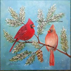 Angela Anderson Art Blog: Cardinal Acrylic Painting - Angelooney Winter Paint In Event