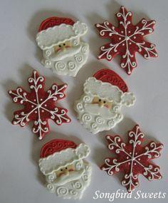 Que delicia estas bolachas de natal decoradas de Papai Noel e de flocos de Neve !  Escreva sua CartinhaaoPapaiNoel.com.br  Navidad - Santa Claus - Cookies - Xmas - Snow - Christmas - Galleta - Papá Noel  - Nieve