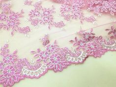 """47/"""" Wide Off White Bridal Gown Fabric Floral Embroidery Wedding Lace Fabric 0.5M"""