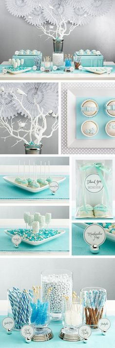 Cute Blue and White Baby Shower Candy Buffet.