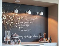 Chalkboard paint behing the buffet table.