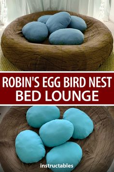 This large Robin's bird nest bed lounge with egg pillows is a great place for a child or adult to relax or take a nap. #Instructables #sewing #bedroom #toy #sewing
