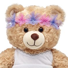 Fairy Flower Crown for Stuffed Animals Small Teddy Bears, Cute Teddy Bears, Light Blue Aesthetic, Retro Aesthetic, Build A Bear Outfits, Teddy Bear Pictures, We Bear, Dogs And Kids, Flower Crown