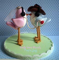 Topo de bolo casal de passarinhos....feito a partir de uma imagem q a cliente Jacqueline enviou....Jac espero q goste...*Ü*   Flickr - Photo Sharing!