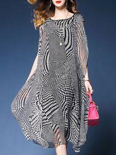 Black Midi Dress Asymmetrical Daytime Casual Polka Dots Dress