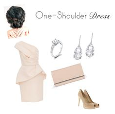 """""""One Shoulder Dress"""" by skirmantesatkute ❤ liked on Polyvore featuring Monique Lhuillier, MICHAEL Michael Kors, Plukka and Boohoo"""