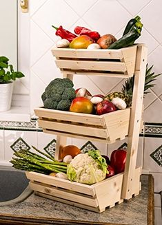 Por hacer Vegetable Rack, Fruit And Vegetable Storage, Vegetable Boxes, Vegetable Stand, Food Storage, Fruit Storage, Storage Rack, Potato And Onion Bin, Potato Storage