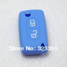 Silicone Key Shell Case Cover Remote Key FOB For PEU GEOT 2 Buttons with light blue color free shipping