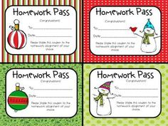 Free homework pass template