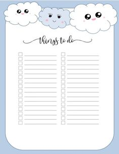 Make a free cute to-do list that will make you want to get your to-do list done! Many different designs available and they can all be customized online! To Do List Printable, Daily Planner Printable, Planner Template, List Template, Templates Printable Free, Free Printables, To Do Planner, Planner Pages, Bullet Journal Ideas Pages