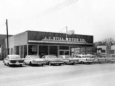 Still Motor Company Ford Dealership, Bay Minette, Alabama Vintage Cars, Vintage Photos, Antique Cars, Vintage Auto, Bay Minette Alabama, Classic Trucks, Classic Cars, New Car Smell, Cars