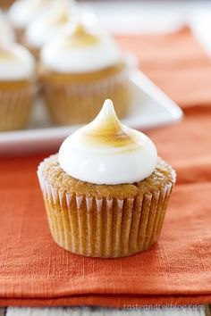 Sweet Potato #Cupcakes with Toasted Marshmallow Frosting