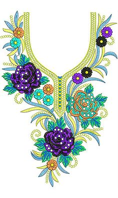 Now you can enjoy our Premium Range Embroidery Designs of Neck Kurti Embroidery Design, Embroidery Neck Designs, Shirt Embroidery, Free Machine Embroidery Designs, Embroidery Fashion, Floral Embroidery, Design Of Neck, Embroidery Designs Free Download, Neckline Designs