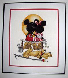 Disney Mickey Minnie Pluto Puppy Love Cross Stitch - Norman Rockwell inspired- The Art of Disney by Stoney Creek