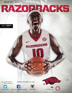 Bobby Portis, a best friend of Florida State Basketball coverboy Dayshawn Watkins, on the cover for the 2014-15 Arkansas Razorbacks Basketball program vs. Alabama Crimson Tide.