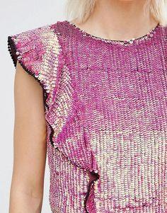 ASOS | ASOS Embellished Sequin Ruffle Top