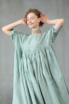 maxi linen dress in aqua green ruffle dress princess linen