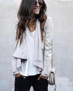 drape jacket and comfy outfit