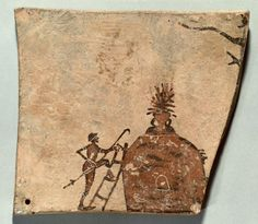 Terracotta votive plaque, pinax, from Penteskouphia Corinth, 575-550 B.C. Man mounts the ceramic furnace with a scale,  more than a thousand votive tablets were found at Penteskouphia near Corinth, rectangular and of varying dimensions, sometimes with holes for hanging, they were probably hung on the branches of trees, 12 cm long. Antikensammlung Berlin
