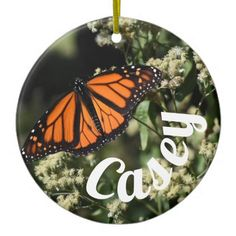 Personalized Orange Monarch Butterfly Nature Photo Ceramic Ornament - photo gifts cyo photos personalize