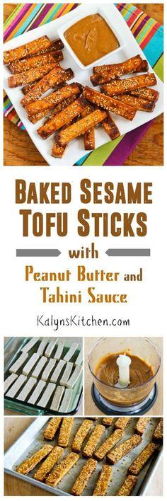 Baked Sesame Tofu Sticks with Peanut Butter and Tahini Sauce