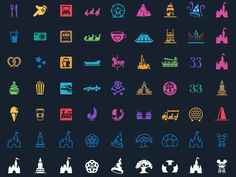 Magic Passport: Attraction & Park Icons designed by Louie Mantia for Pacific Helm. Connect with them on Dribbble; Disney Symbols, Disney Icons, Disney Posters, Disney Diy, Disney Trips, Disney Stuff, Disney Typography, Icon Tattoo, Cute Disney Outfits