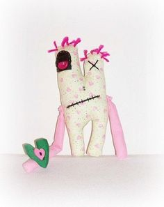 """My Nuttah Monster Doll Made With Love By Me EerieBeth, Handmade Heart Head Shape Pink Green Hearts Doll, Nuttah Needs Love """"Adopted Me"""" by ICreateAndCollect on Etsy"""