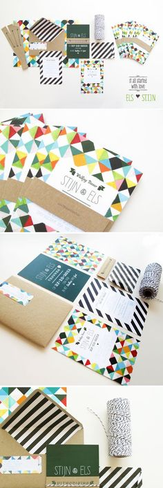 Wedding invitation with bakers twine, stripes and types