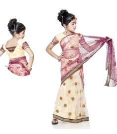 US$ 101.11 : Light Yellow Indian Kids Wear Saree | Get It Here: http://www.sareegalaxy.com/pages/itemlarge.aspx?itemcode=CKIB21