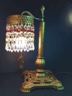 FINE MEDIEVAL STYLE ANTIQUE EDWARDIAN TABLE OR DESK LAMP W/ CRYSTALS~! 1910