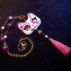 Pink Sakura Japanese Mask Inspired Kitty Cat OOAKPolymer clay pendant by FleurDeLapin on Etsy