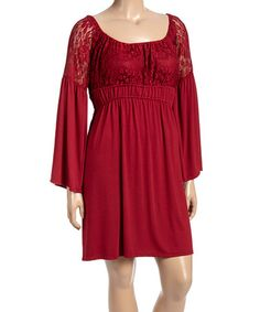 834bfbc048 Loving this Wine Lace Bell-Sleeve Empire-Waist Dress - Plus on #zulily
