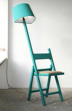 Poetry in Motion - Folding chair + Floor Lamp design fusion