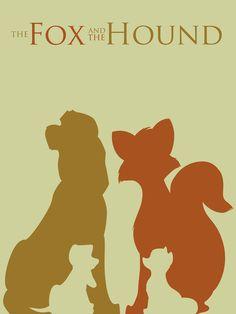 The Fox and the Hound - Negative form in Disney minimalist poster by Citron Vert, via Behance Disney Pixar, Rapunzel Disney, Heros Disney, Film Disney, Disney Girls, Disney And Dreamworks, Disney Art, Disney And More, Disney Love