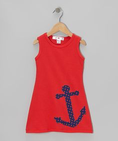Look at this #zulilyfind! Red & Navy Anchor Swing Dress - Infant, Toddler & Girls by little bits #zulilyfinds