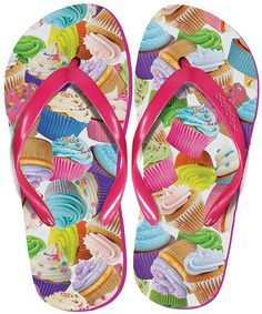d7b5930a4 iscream Women s  FunPrints  Beach Flip Flops - Cupcakes   Click image to  review more details.