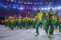 Olympia 2016: Teilnehmer aus Südafrika feiern ausgelassen.