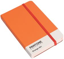 A6 Size, small notebook, Pantone Orange 021 exterior and tinted light red lined paper.