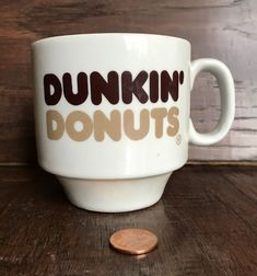 VINTAGE DUNKIN DONUTS RETRO COFFEE MUG STACKABLE 7 ounces oz BEIGE BROWN IVORY #DunkinDonuts