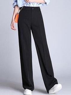 Casual Black Pocket Wide-Leg Pants - Outfit of the day Wide Pants Outfit, Trouser Outfits, Leggings Are Not Pants, Black Trousers Outfit Casual, Black Outfits, Cute Casual Outfits, Black Dress Pants, Girly Outfits, Blue Pants