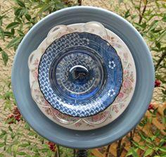 Frosted Blue Trumpet Glass Flower Plate Garden by TheGlassDaisy