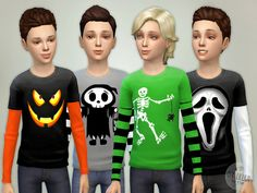 Boy Halloween Shirt Found in TSR Category 'Sims 4 Male Child Everyday' Sims Halloween Costume, Halloween Outfits, Halloween Kids, Sims 4 Children, 4 Kids, Halloween Shirts For Boys, Kids Shirts, My Sims, Sims Cc
